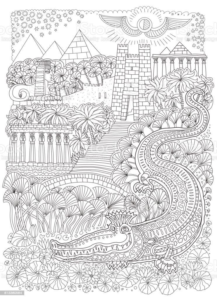 Ilustración de Paisaje De Egipto Antiguo Cuento De Hadas Cocodrilo ...