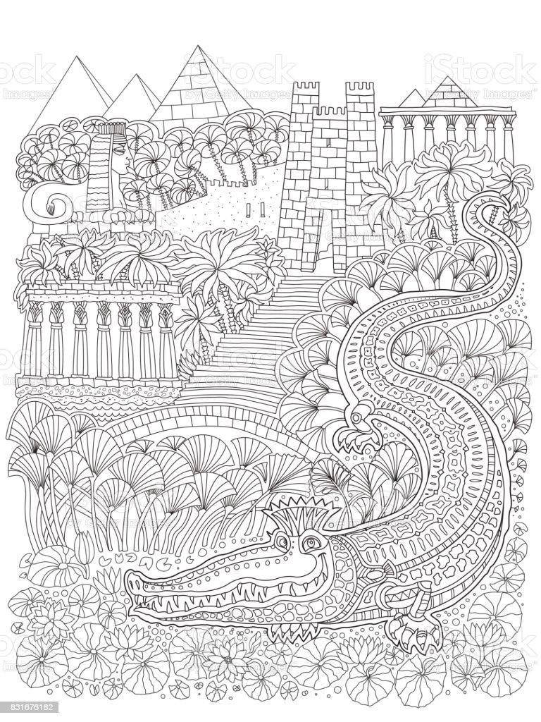 Peri Masalı Antik Mısır Manzara Fantezi Timsah Tapınak Palmiye Ağacı