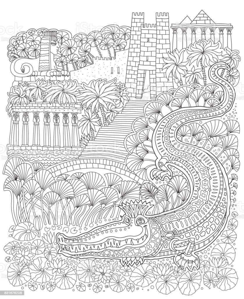 Fairy Tale Ancient Egypt Landscape. Fantasy Crocodile, Temple, Palm Tree,  Garden,