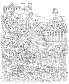 Fairy tale ancient Egypt landscape. Fantasy crocodile, temple, palm tree, garden, river, blooming lotus.T-shirt  print. Coloring book page for children and adults. Black and white doodle, album cover