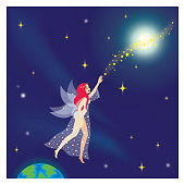 vector illustration, fairy tale fairy and stars in space, masal perisi
