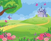 istock Fairy tale background with flower meadow, Princess's castle and butterflies. Wonderland. Cartoon, children's illustration. Fabulous landscape. Beautiful Park or garden. Vector. 1253925414