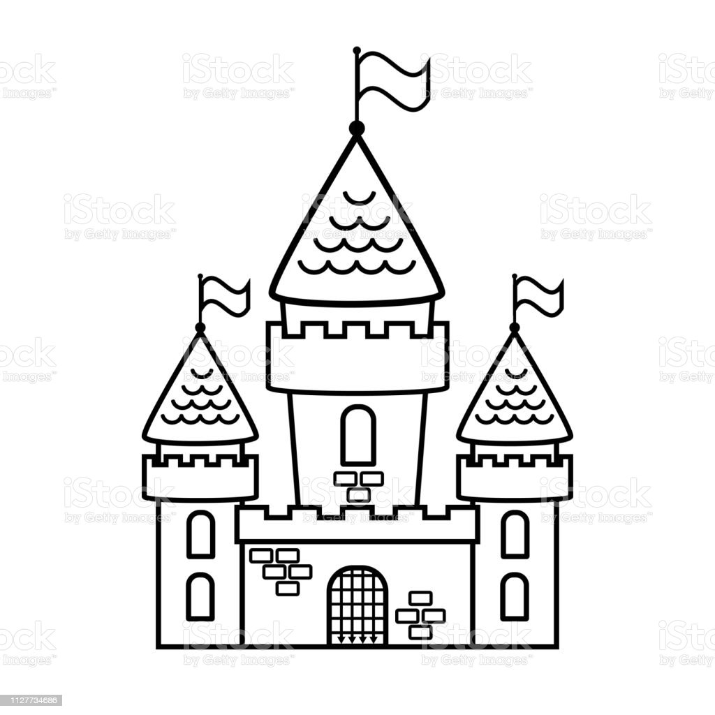 Fairy Tale Cartoon Castle Coloring Page Stock Illustration