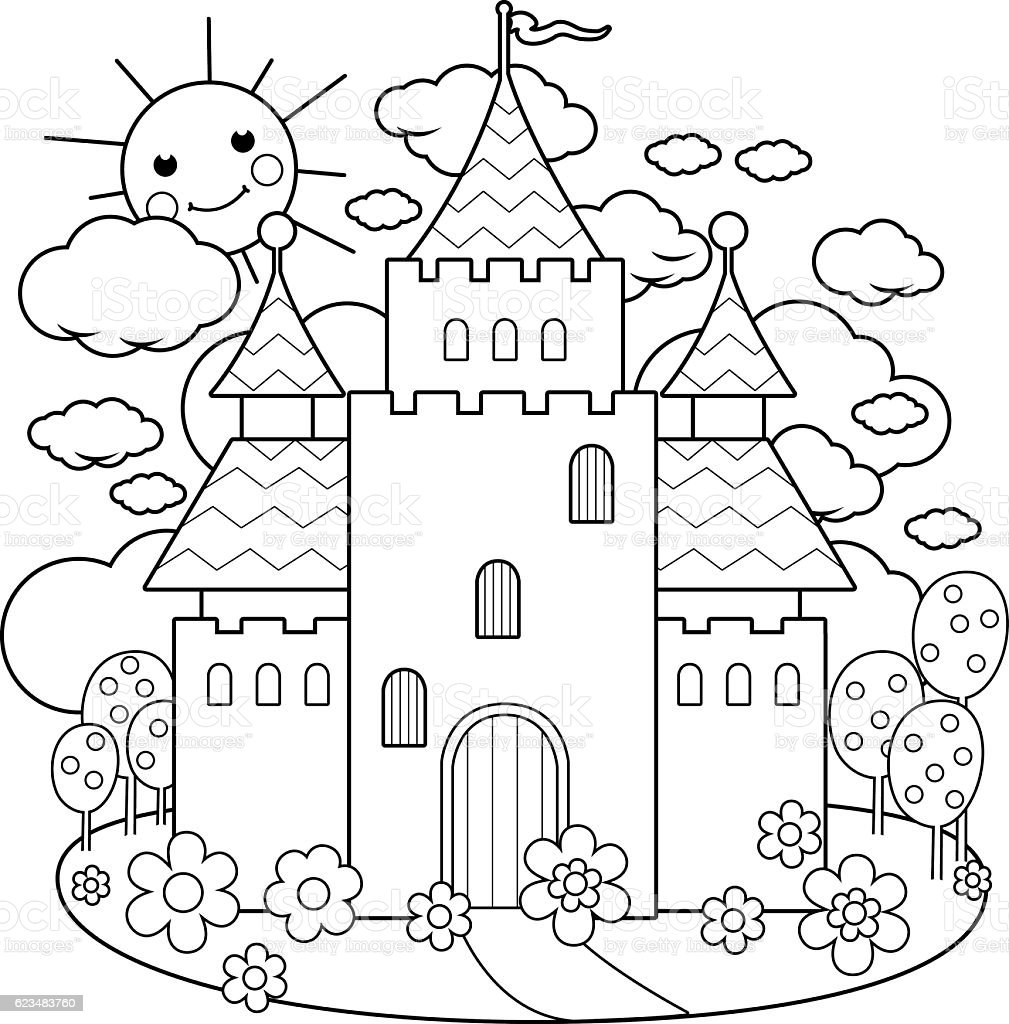 Fairy Tale Castle And Flowers Coloring Page stock vector art ...