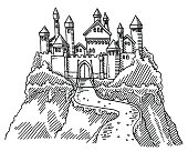 Hand-drawn vector drawing of a Fairy Tale Castle on a Rock. Black-and-White sketch on a transparent background (.eps-file). Included files are EPS (v10) and Hi-Res JPG.