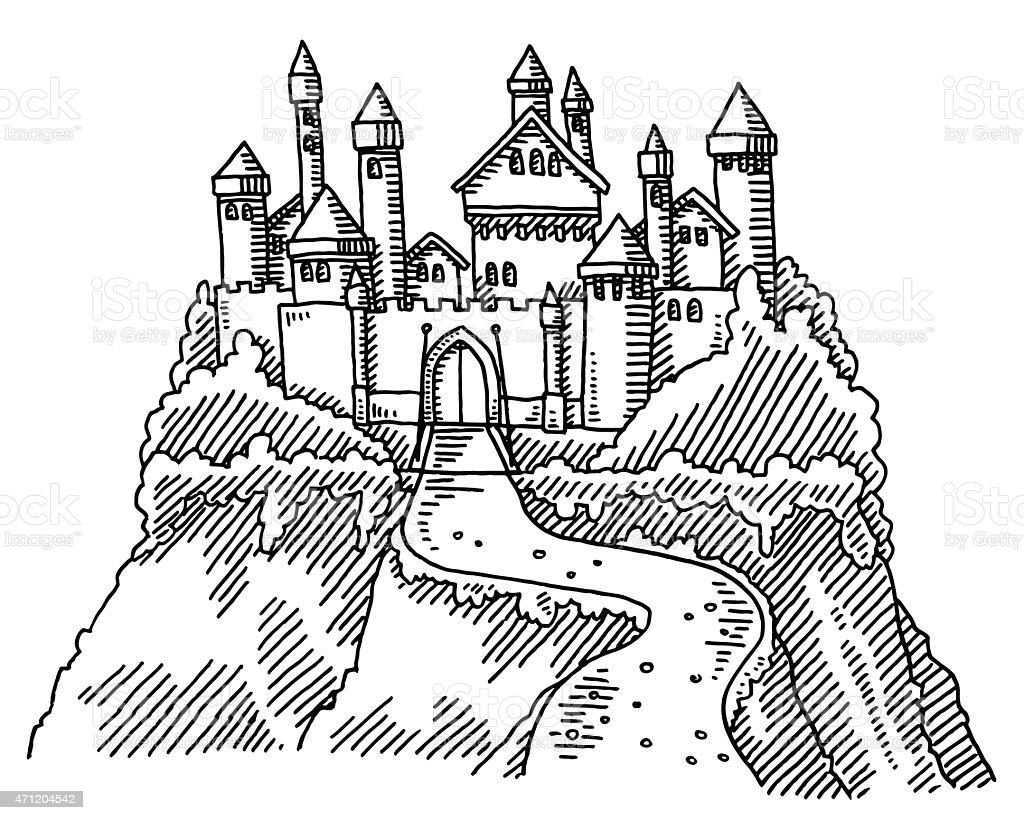 Fairy Tale Castle Drawing vector art illustration