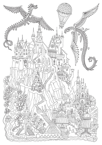 Fairy tale castle on a mountain, palm trees, river waterfall. Flying dragon and air baloon. Coloring book page for adults