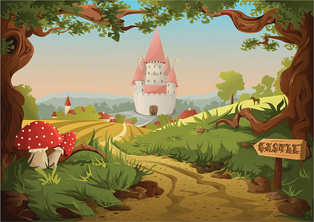 fairy tale castle - bedtime story stock illustrations