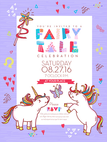 Fairy Tale celebration invitation design template with happy things.
