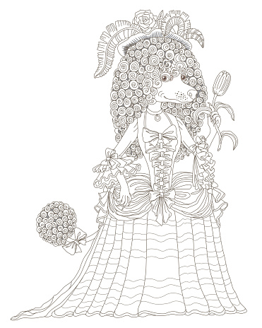 Fairy tale character of a female poodle dog dressed in a vintage costume, a hat with rose flower and feathers. Brown contour doodle sketch. Tee-shirt print, adults and children coloring book page