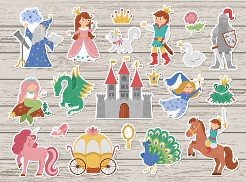 Fairy tale character stickers collection. Big vector sticker pack with fantasy princess, prince, witch, knight, unicorn, dragon. Medieval fairytale castle patches pack. Cartoon magic icons