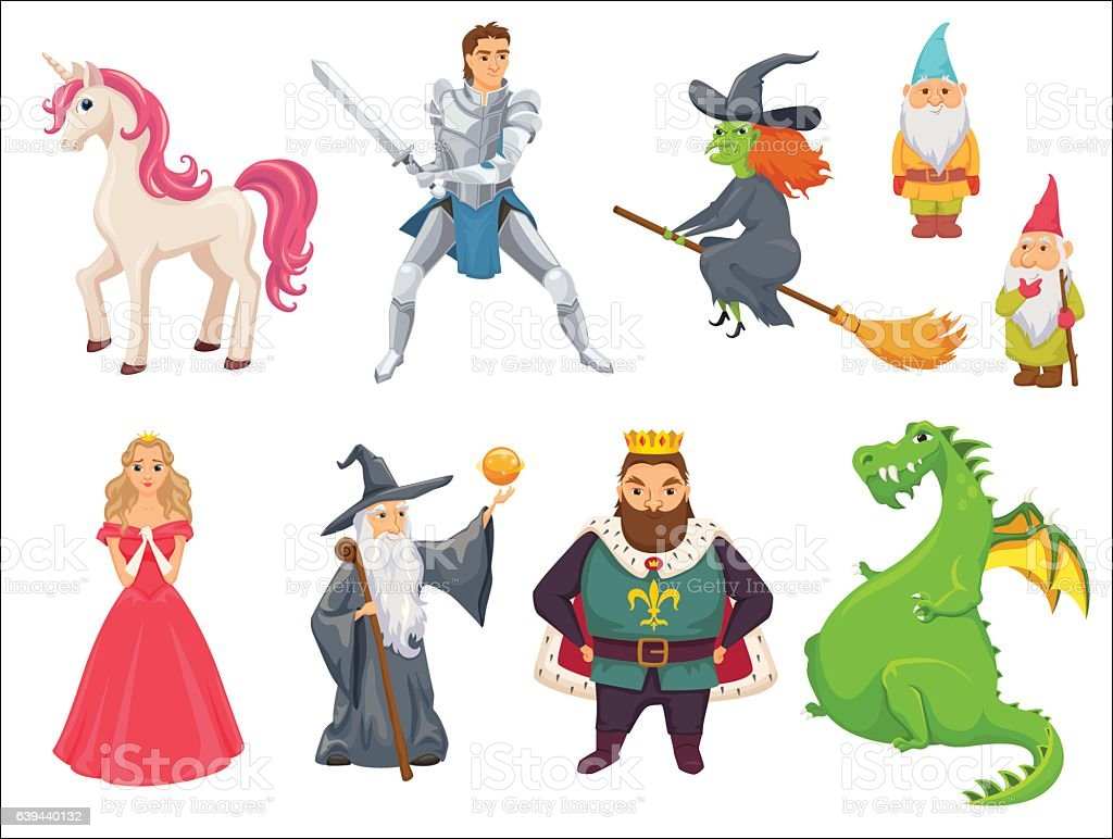 Fairy tale characters vector art illustration