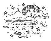 Fairy Tale Clouds Rainbow Stars Drawing