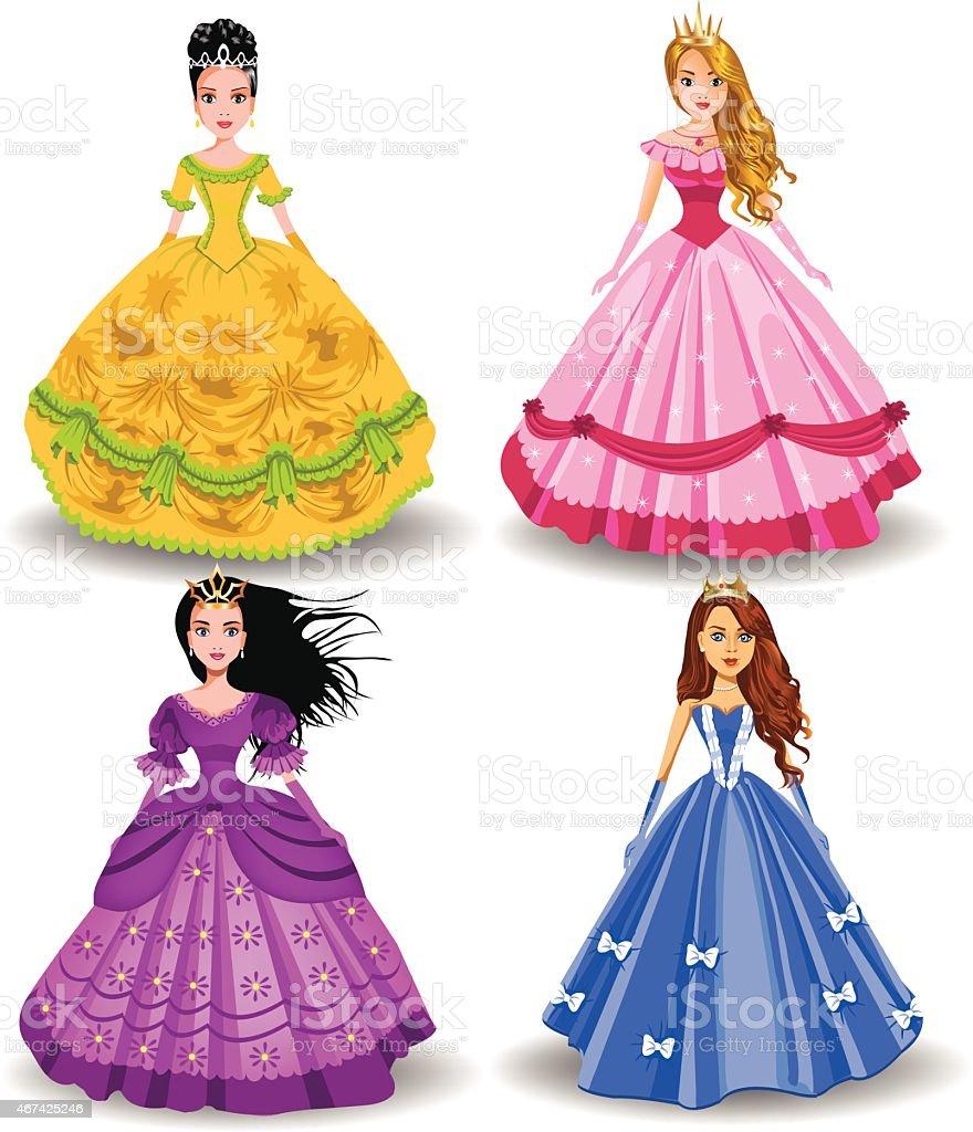 fairy tale doll princesses vector art illustration