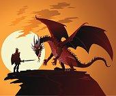 Fairy Tale Dragon Against Dragonslayer