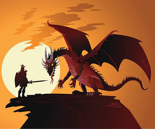 fairy tale dragon against dragonslayer - dragon stock illustrations, clip art, cartoons, & icons