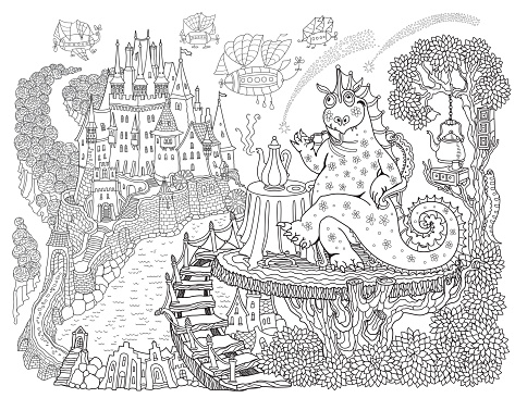 Fairy tale dragon drinking coffee at the table on a wooden terrace near a medieval castle. Linear black and white doodle sketch. Tee-shirt print, adults coloring book page, poster, book cover