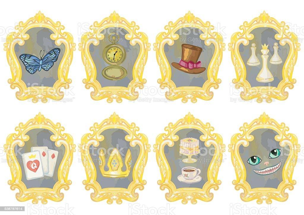 Fairy Tale Elements on Mirrors vector art illustration