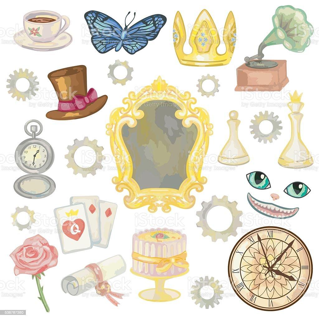 Fairy Tale Elements vector art illustration