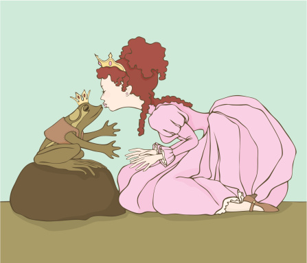 Fairy Tale Frog and Princess about to Kiss
