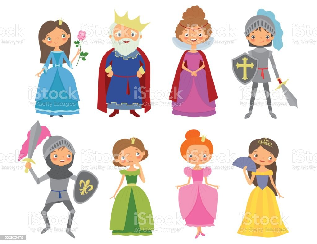 Fairy tale. King, Queen, Knights and Princesses vector art illustration