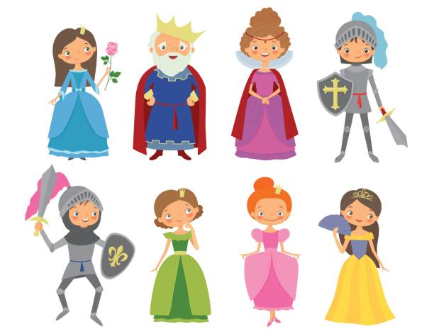 fairy tale. king, queen, knights and princesses - knight in shining armor stock illustrations, clip art, cartoons, & icons