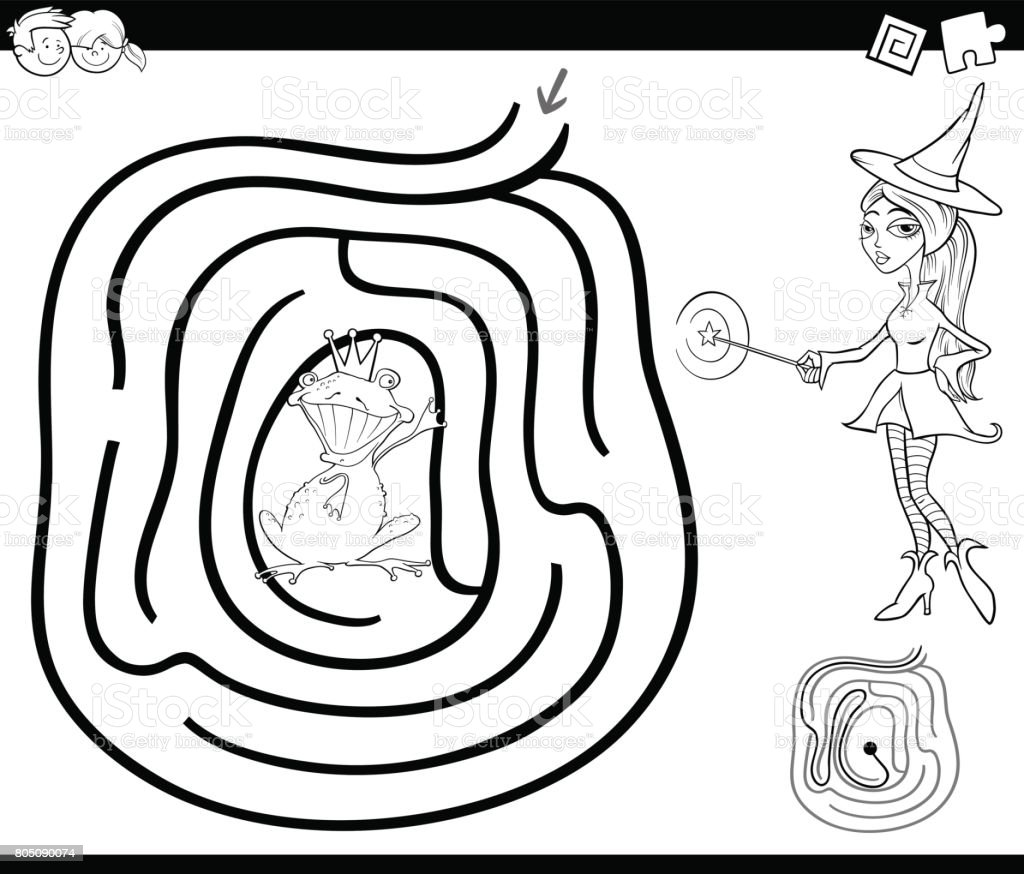 Ilustración de Página Para Colorear Laberinto De Cuento De Hadas y ...