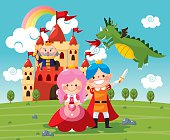 Fairy tale Medieval Age,Princess, Prince, Dragon,king,castle