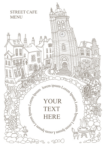 Fairy tale medieval town houses and street café. Black and white hand drawn sketch. Adults coloring book page, T shirt print, Travel Brochure cover
