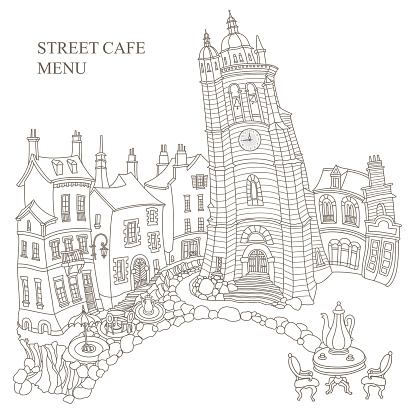 Fairy tale medieval town houses and street café. Black and white hand drawn sketch. Adults coloring book page, T shirt print, Travel Brochure, coffee menu cover
