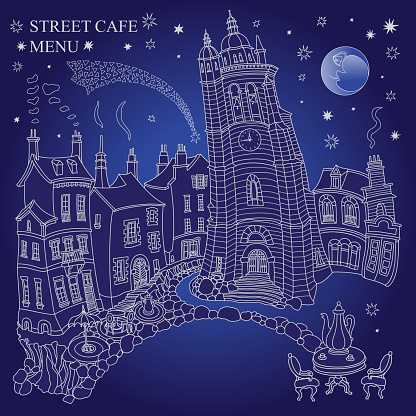 Fairy tale medieval town houses and street café. Black and white hand drawn sketch on a dark indigo blue night sky background. Travel Brochure, T-shirt print, coffee menu cover