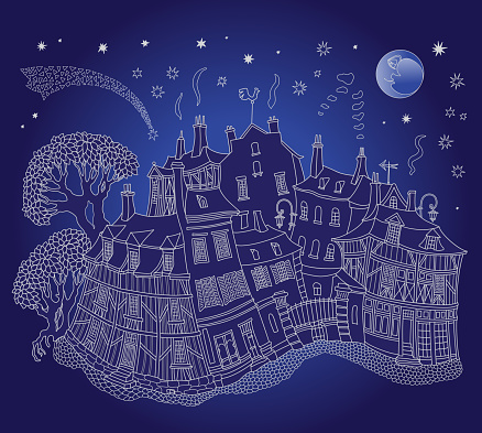 Fairy tale medieval town houses street. Black and white hand drawn sketch on a dark indigo blue night sky background. Travel Brochure illustration, tee shirt print, book cover