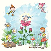 A bright new morning for little pixies in their fairy tale world.