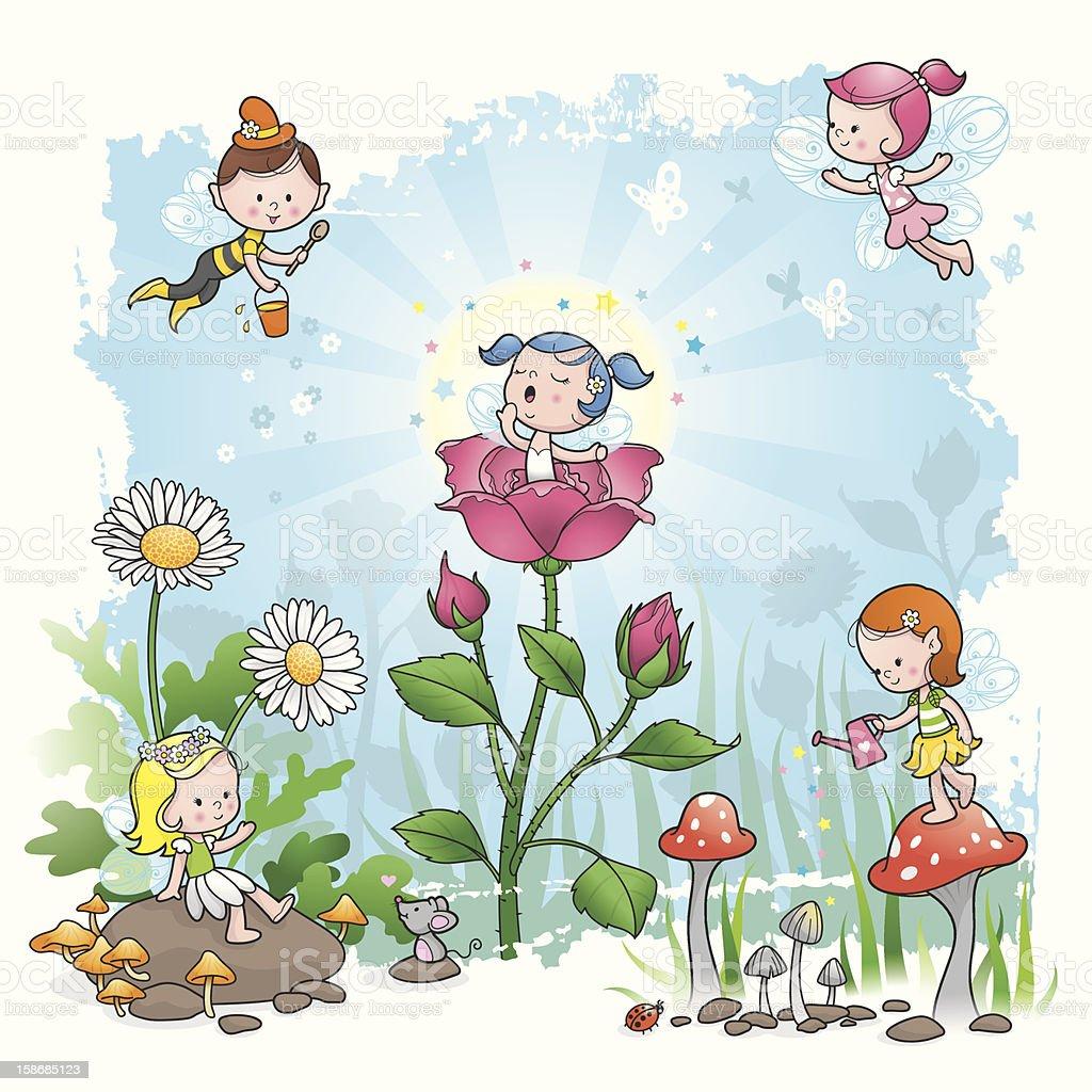 Fairy Tale morning flower elf vector art illustration