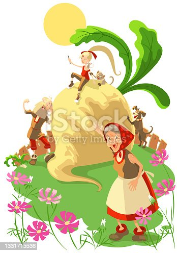 istock Fairy tale of great big turnip. Contemporary education read for kid 1331715536