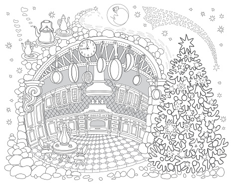 Fairy tale old medieval Kitchen in the family apartment with Cristmas Fir Tree. New Year and Christmas greeting, invitation card background, Vector contour thin line illustration. Adults coloring book page, tee shirt print
