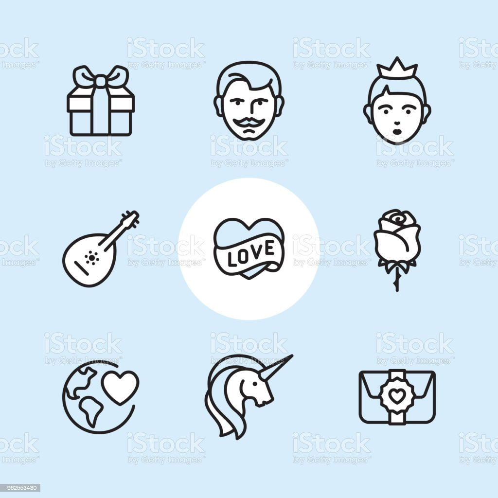 Conto de fadas - conjunto de ícones de contorno - Vetor de Adolescente royalty-free