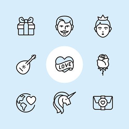 Fairy Tale - outline icon set
