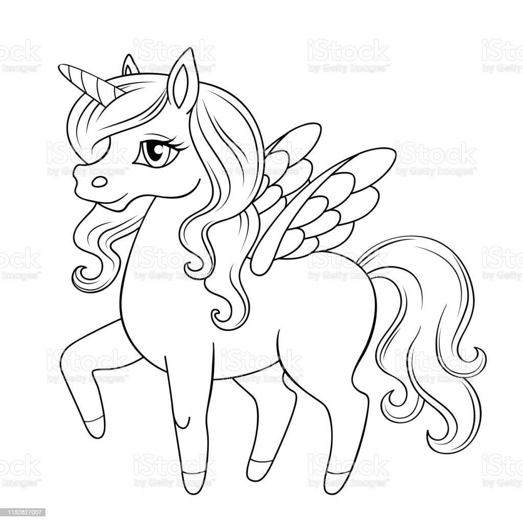 Peri Masali Pegasus Midilli Prensesi Unicorn Boyama Kitabi Icin