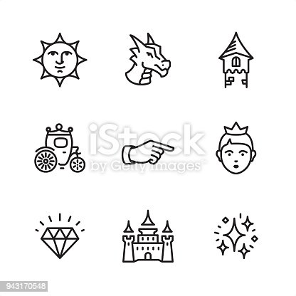 Fairy Tale theme related outline vector icon set.  9 Outline style black and white icons / Set #09  CONTENT BY ROWS  First row of icons contains: Victorian Sun Face, Dragon, Tower;  Second row contains: Carriage, Victorian Hand Pointer, Princess;   Third row contains: Diamond, Castle, Enchantment stardust.   Pixel Perfect Principle - all the icons are designed in 64x64 px grid, outline stroke 2 px.  Complete Outline 3x3 PRO collection - https://www.istockphoto.com/collaboration/boards/hyo8kGplAEWxASfzDWET0Q