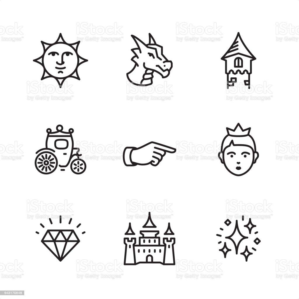 Cuento de hadas - los iconos de contorno perfecto de Pixel - ilustración de arte vectorial