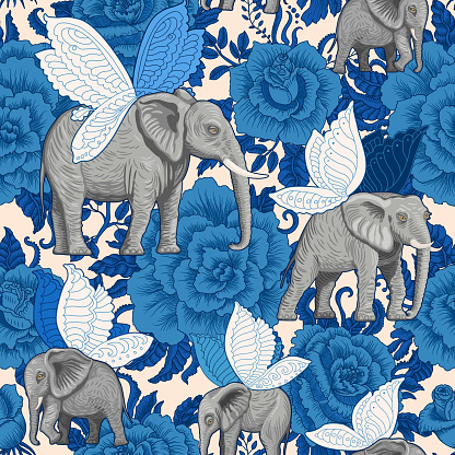 Fairy tale Seamless pattern from flying elephants with butterfly wings, decorative dark blue rose flowers on a beige background. Wallpaper, batik, boho textile print, chintz, animal illustration