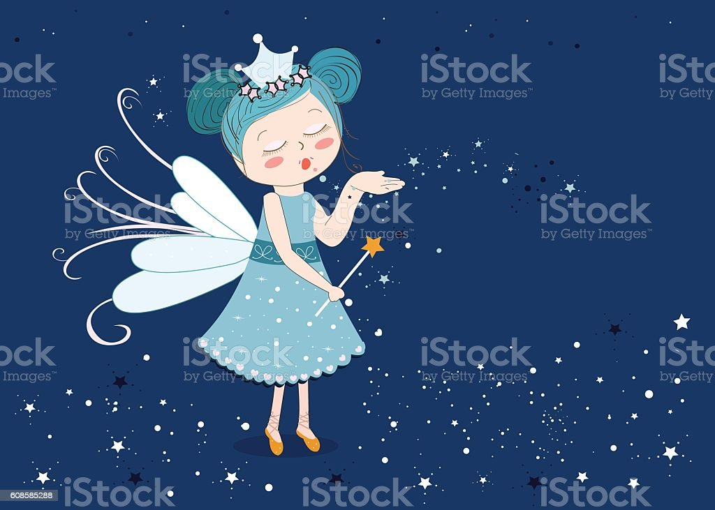 Fairy tale sending stars illustration vector art illustration
