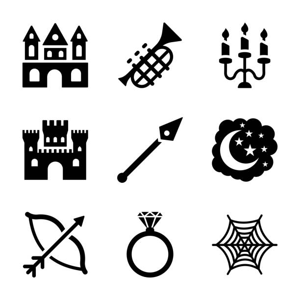 Fairy Tale Solid Icons vector art illustration