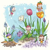 Springtime has come to little pixies in their fairy tale world.