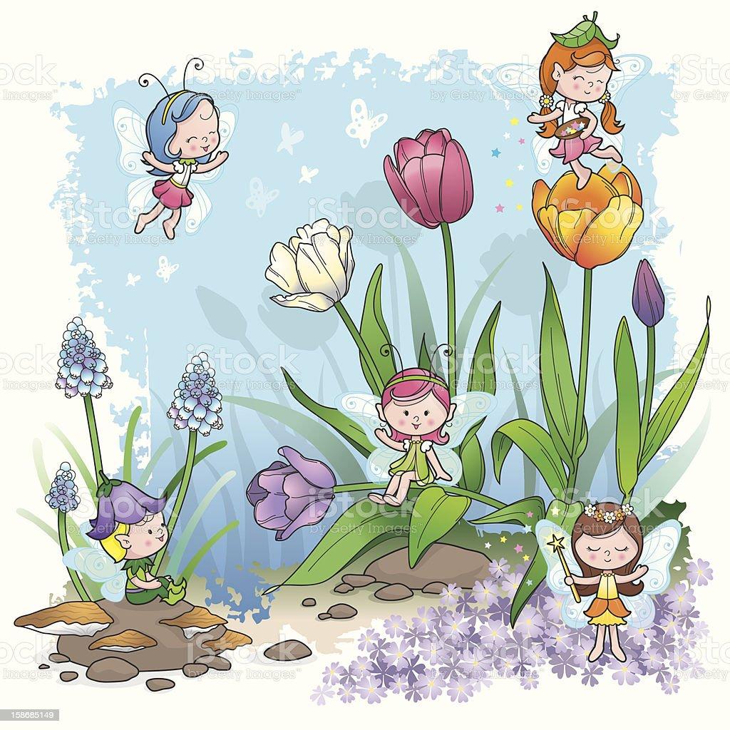 Fairy Tale spring pixie elf vector art illustration