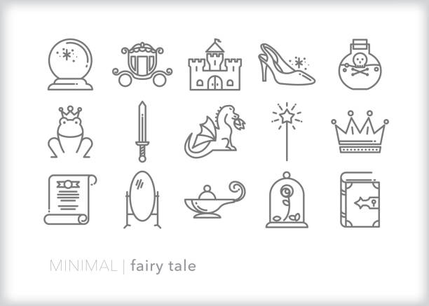 illustrazioni stock, clip art, cartoni animati e icone di tendenza di fairy tale story line icon set - personaggio fantastico