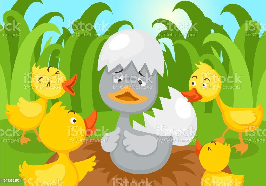 Fairy tale ugly duckling vector art illustration