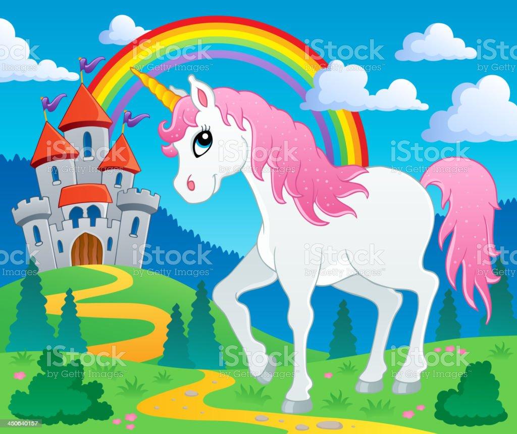 Fairy tale unicorn theme image 2 royalty-free stock vector art
