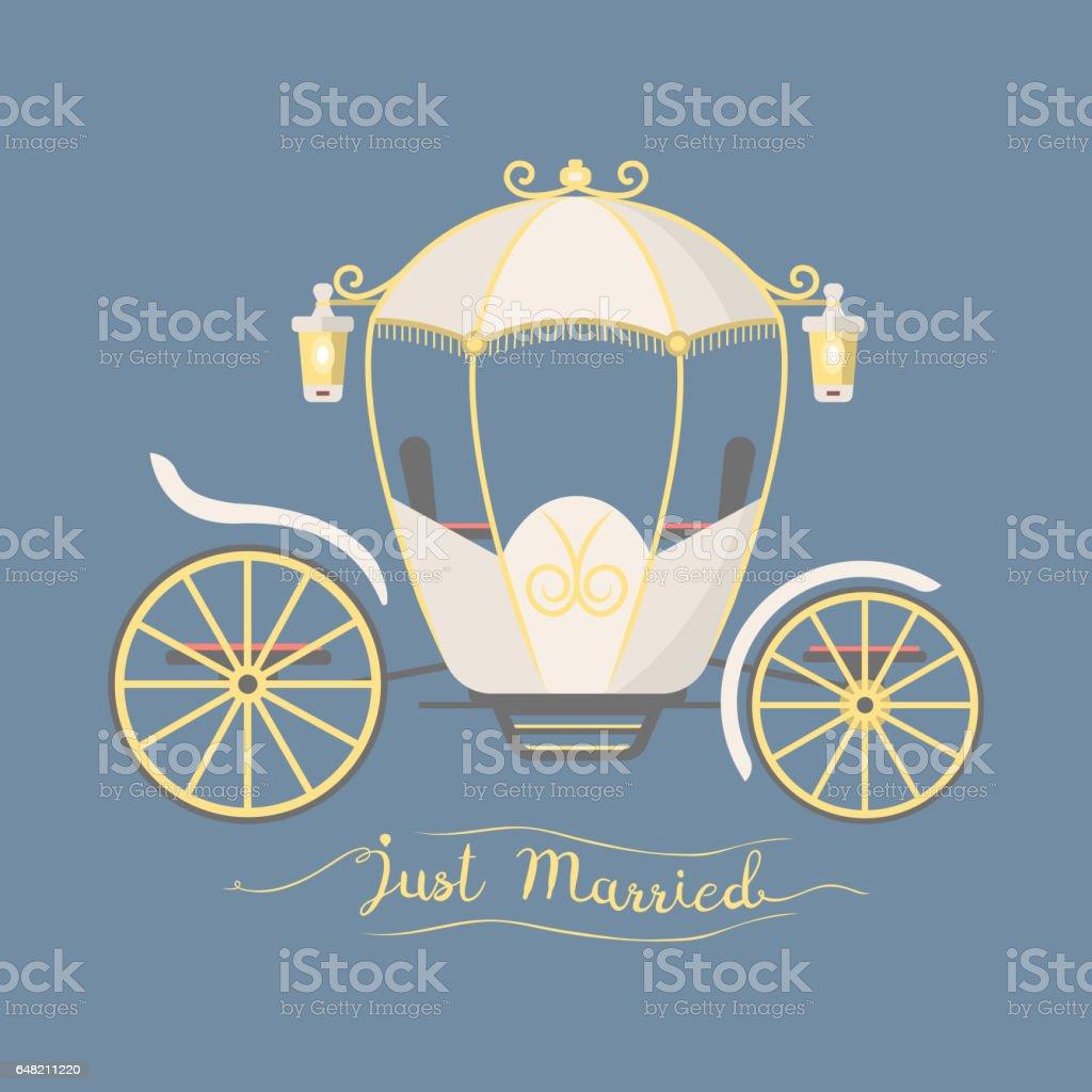 Märchen Vintage Wagen Dekoration königlichen Element Retro-Hochzeitskutsche mit klassisch eleganten Accessoire Vektor-illustration – Vektorgrafik